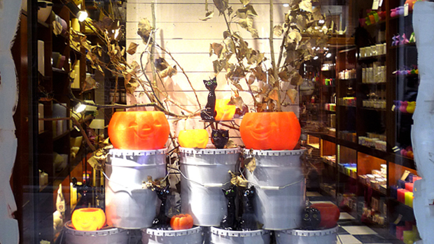 Halloween candles window display
