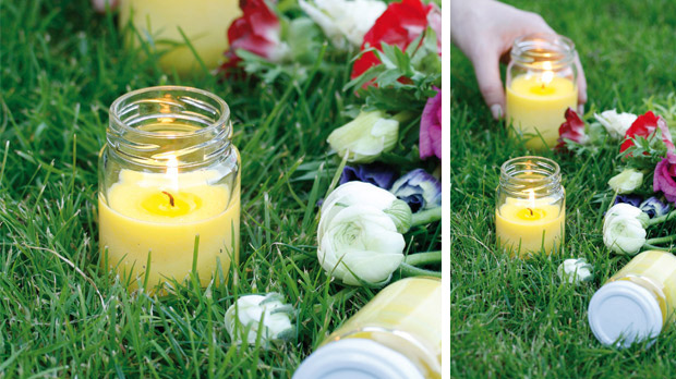 Citronella scented candle in glass container