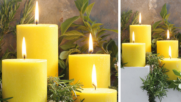 Citronella scented pillar candle