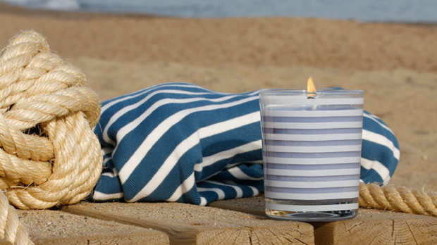 Nautic stripes sea breeze scented candle