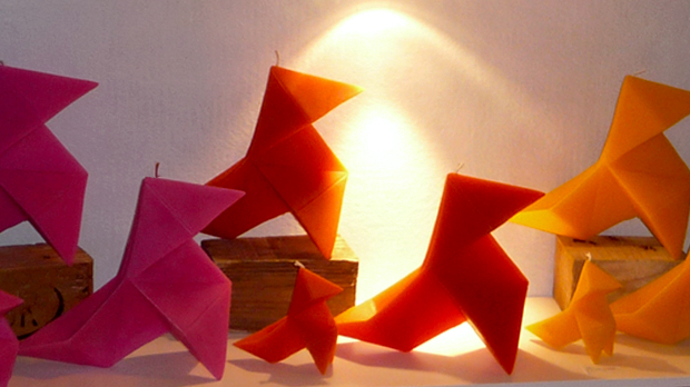 Coloured Origami Candles