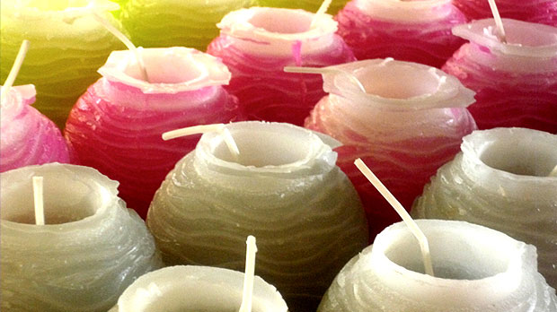 Coloured handmade candle series