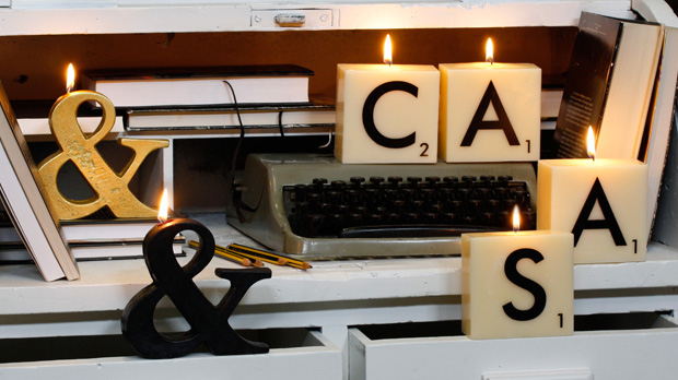 ABC typographic candles